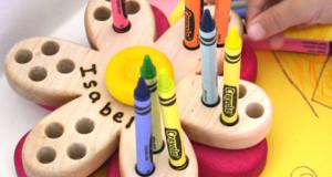 Flower crayon holder