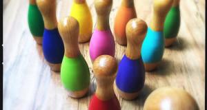 Wooden ten pin bowling set